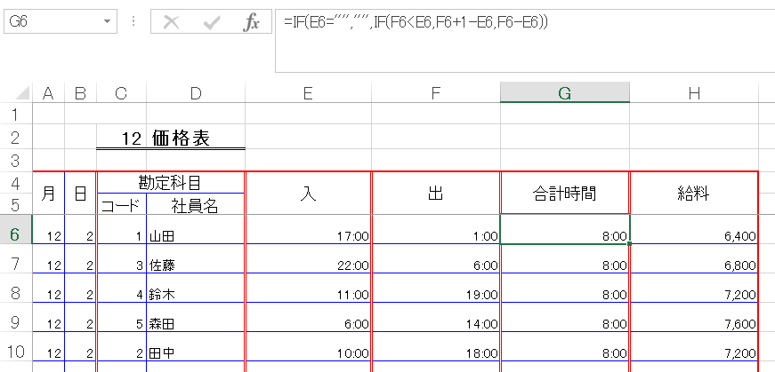 EXCELの関数 + – * / の使い方