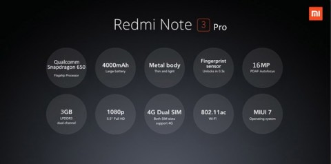 XIAOMI Redmi Note 3 Proスペック詳細