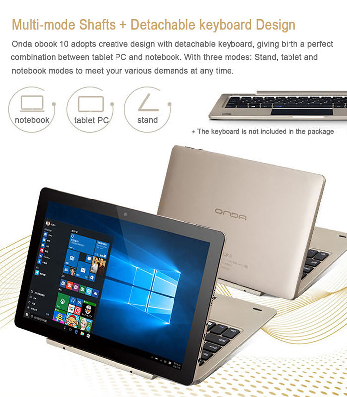 Onda OBook10 Ultrabook Tablet PC  -  WINDOWS 10レビュー