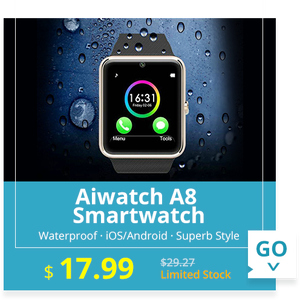 Aiwatch A8 Bluetooth Smart Watch MTK6261 Single SIM Phone with Dialer Camera Sleep Monitor Waterproof  -  BLACK
