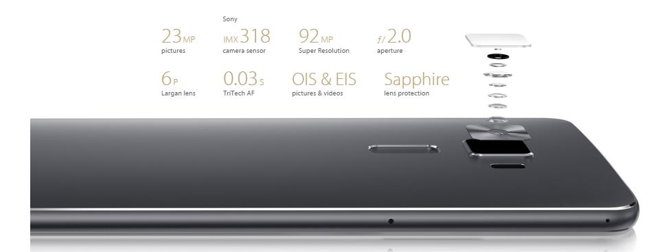 ASUS Zenfone 3 Deluxe ZS570KL 4G Phabletスペック詳細参考画像 カメラのセンサーと画質など