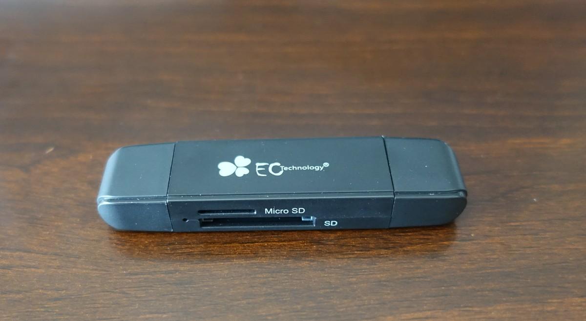 EC Technology OTG機能付きSD/microSDカードリーダーレビュー 外観参考写真