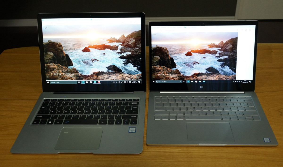 CUBE Thinker レビュー Xiaomi Mi Notebook Air とのディスプレイ画面比率比較参考画像