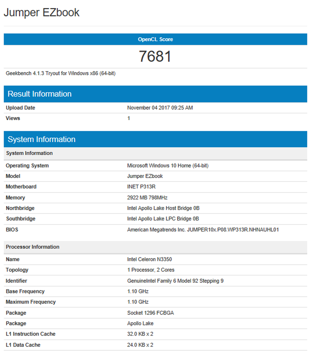 Jumper EZbook 3SE レビュー ベンチマークのテストはいつものAntutuとGeekBench