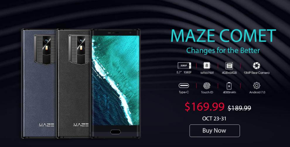 MAZE Comet 2.5D湾曲ガラスベゼルレススマホが$169.99でフラッシュセール開始