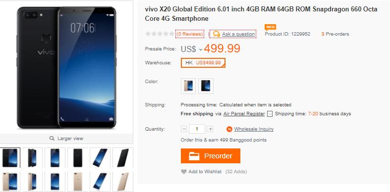 vivo X20 Global Edition 購入