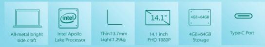 Bben N14W 14.1インチ Intel Apollo Lake N3450搭載ノートPC