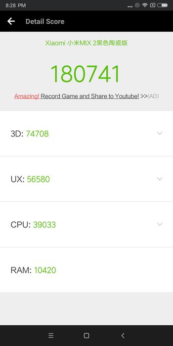 Xiaomi mi mix 2 レビューベンチマークの説明参考画像