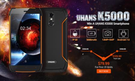 Uhans K5000 防水IP68タフネススマホがフラッシュセールで$129.99!