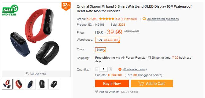 Xiaomi Mi band 3 日本からの購入