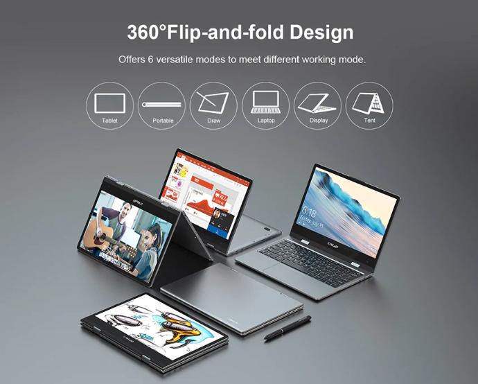 Teclast F5 360度開閉の超薄型ラップトップ