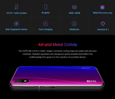 Elephone A4 Pro サイド指紋認証5.85インチノッチディスプレイスマホが$139.99
