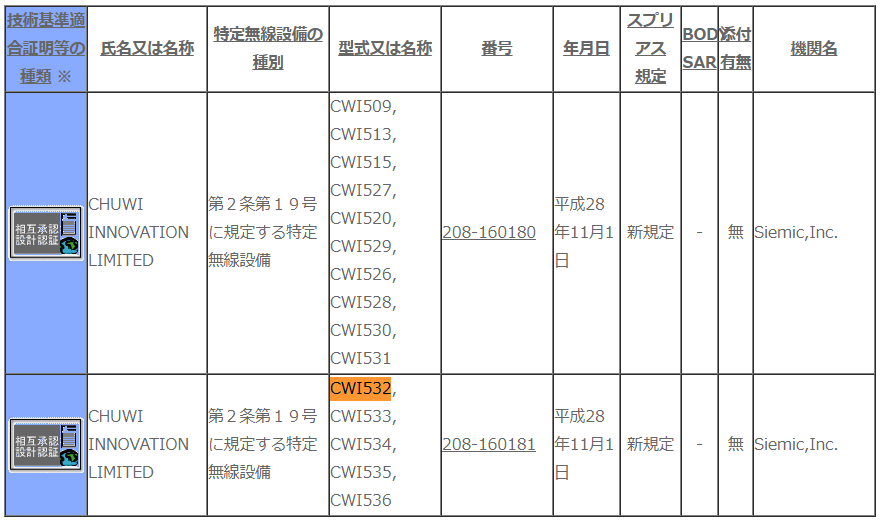 CHUWI HI9 PLUS CWI532 技適