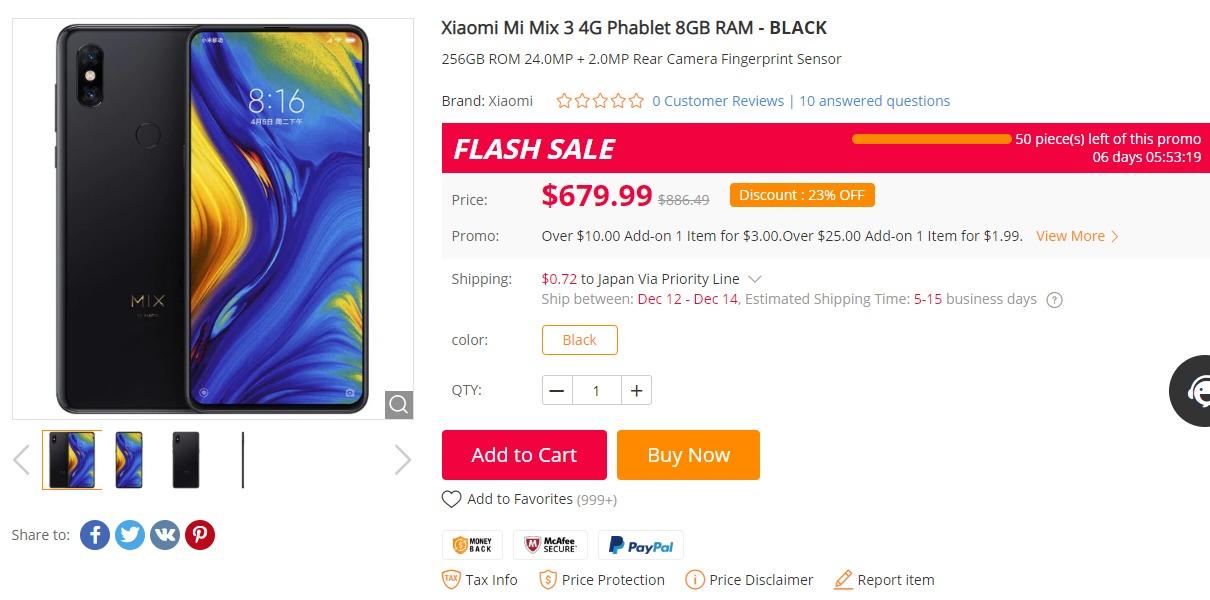 Xiaomi mi mix 3 日本からの購入最安値と割引クーポン