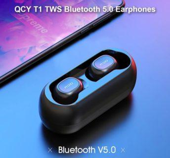 【セール価格$17.79】AAC対応・4時間再生可能な左右独立型Bluetooth5.0のイヤホンQCY T1C TWSが$18.49でセール中!
