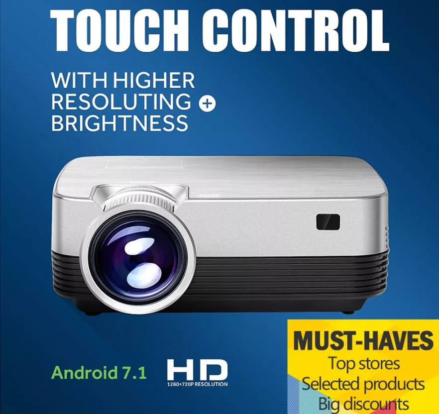 E-Jiale Q6 LCD Android 7.1 Projector LED Light 1280*720 1000:1 Wifi Bluetooth Projector