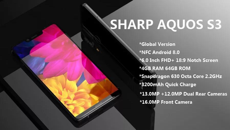 SHARP AQUOS S3 Global Version 4GB 64GB