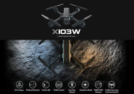 折りたたみ式RCクワッドローター「MJX X103W 2K Camera 5G Wifi FPV GPS RC Drone」が$94.99でセール中