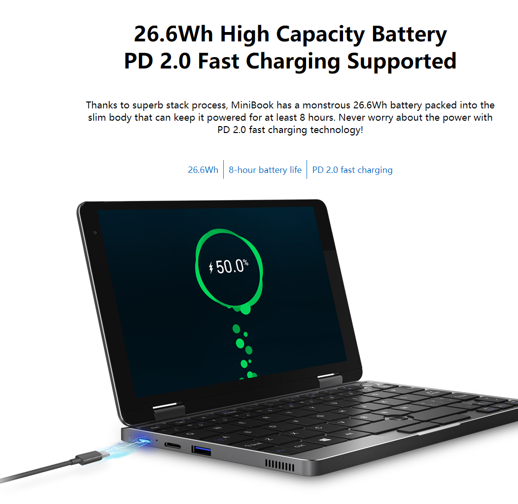 CHUWI MiniBookは8時間使用可能な7000mAH大容量バッテリー搭載