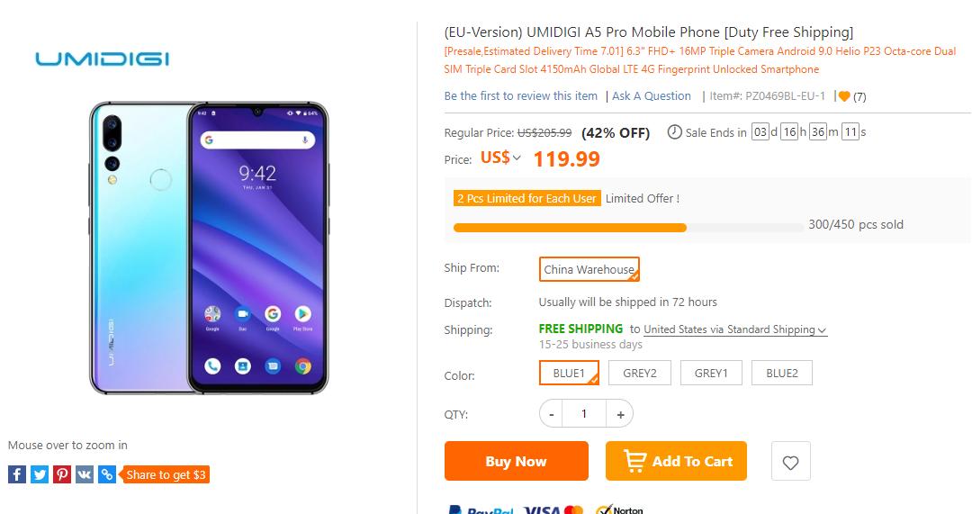 UMIDIGI A5 Pro セール情報