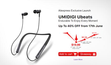 12時間連続再生可能のネックバンド式Bluetooth5.0スポーツイヤホン「UMIDIGI Ubeats」が17日のサマーセールで$19.99に!