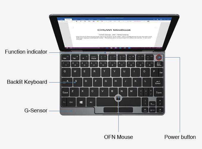 CHUWI MiniBookのフルサイズのキーボードはバックライト付きで日本語にも対応