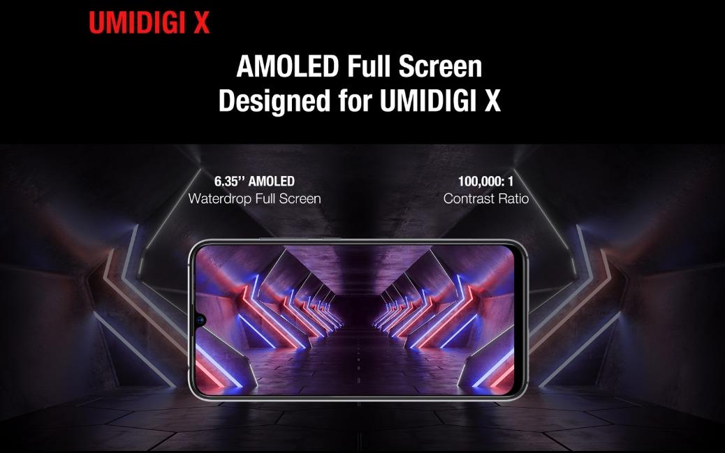 UMIDIGI X スペック詳細 6.35インチAMOLEDディスプレイ