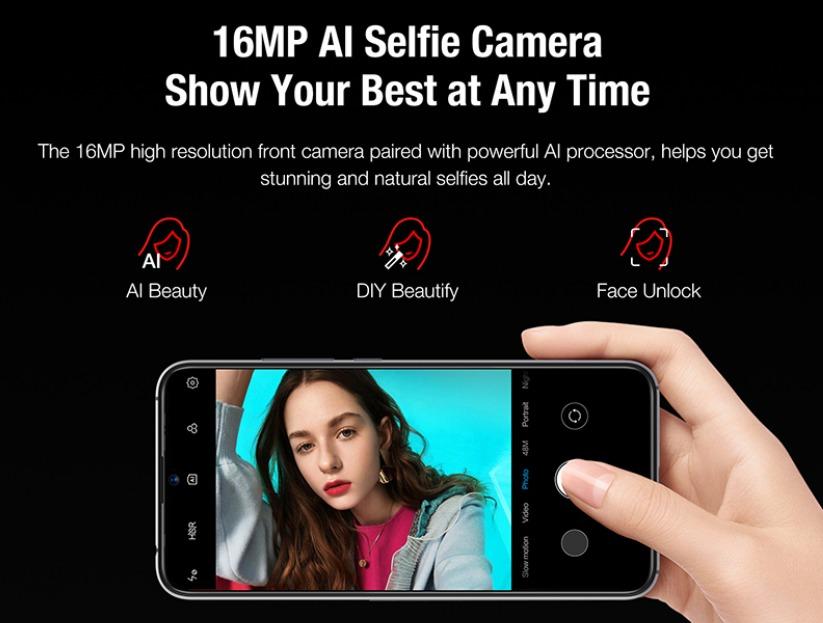 UMIDIGI Xのフロントカメラは16.0MPでAI搭載