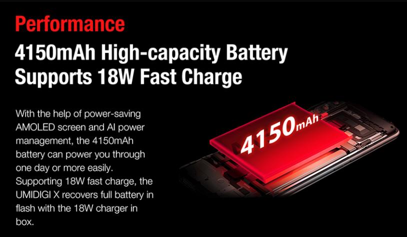 UMIDIGI X 4150mAhのバッテリーは急速充電対応