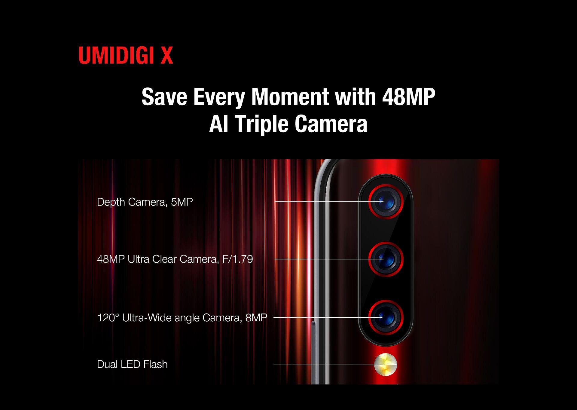 UMIDIGI X スペック詳細 背面カメラは48MPメインセンサーの超広角レンズ付きトリプルレンズ
