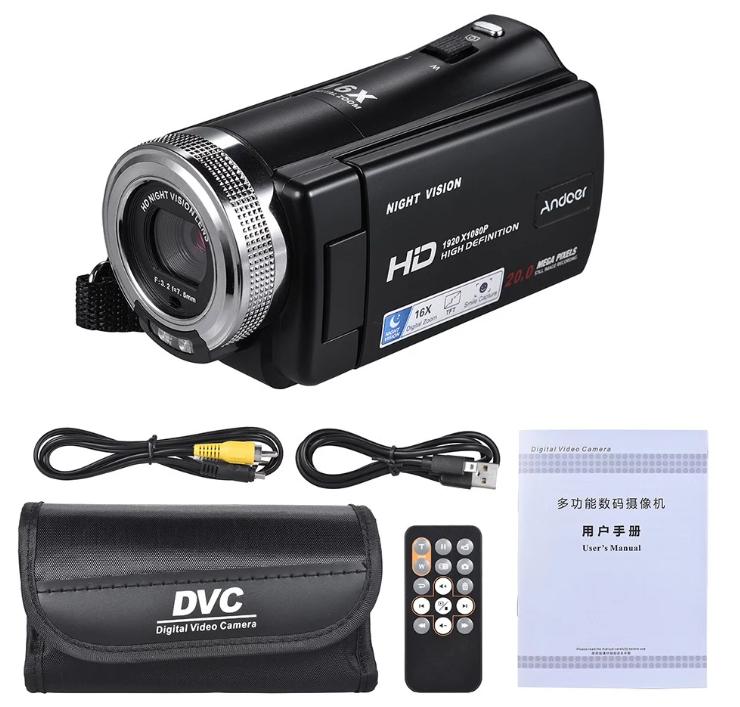 Andoer V12 1080P フルHD&16倍ズーム撮影ができるデジタルハンディーカメラ