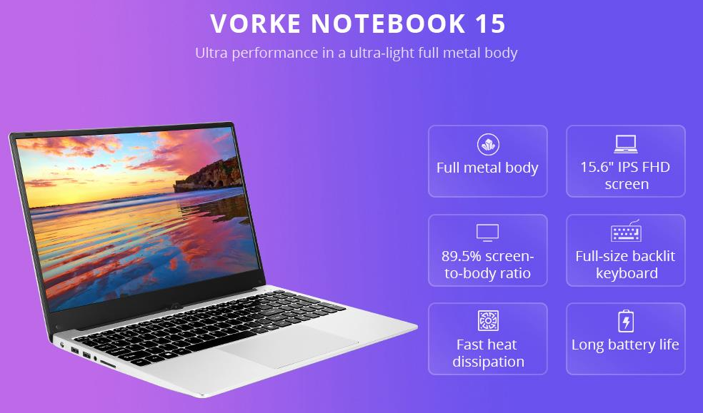 VORKE Notebook 15 Laptop Intel Core i7-4500U 8GB DDR3 256GB SSD