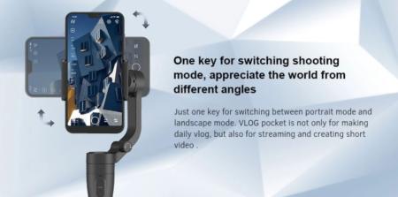 【セール価格69ドル】FeiyuTech VLOG Pocket スマホ用ジンバル 軽量コンパクトなのに240gまで対応