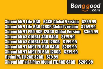 Xiaomi Mi 9 Lite Global 6GB 64GB $239.99 / 6GB 128GB $259.99, Xiaomi Mi 9T PRO 6GB 128GB Global $359.99,  Xiaomi Mi9T EU 6GB 64GB $269.99 / 6GB 128GB $279.99など割引クーポン大量追加