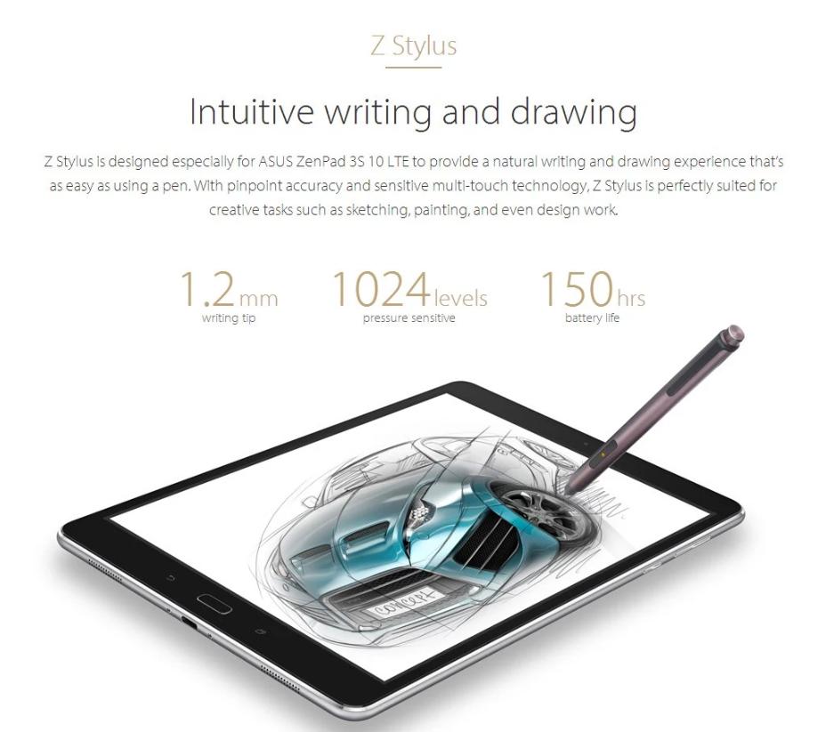 ASUS ZenPad 3S 10 LTE スペックレビュー 1024段階の筆圧に対応