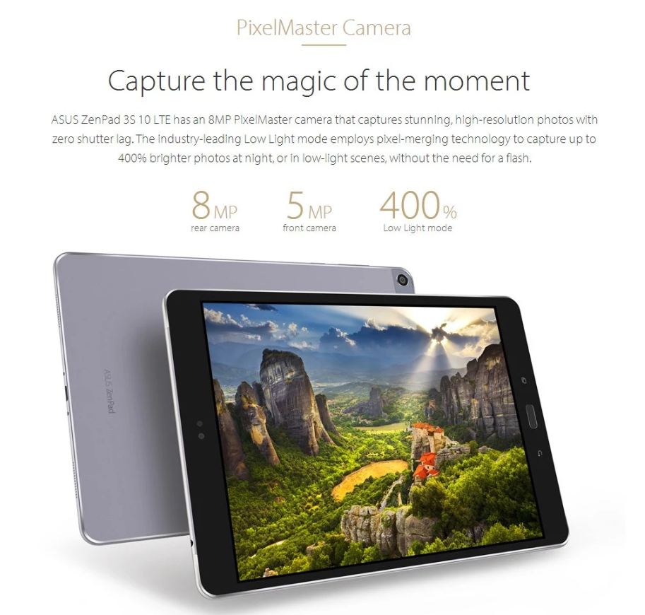 ASUS ZenPad 3S 10 LTE スペックレビュー リア8MP+イン5MPのカメラを搭載