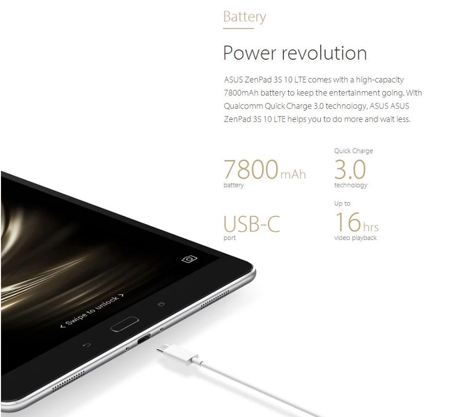 ASUS ZenPad 3S 10 LTE スペックレビュー 7800mAhのバッテリーは16時間のビデオ再生が可能