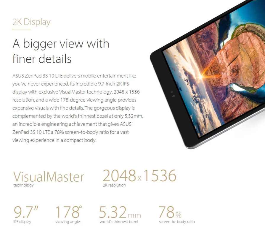 ASUS ZenPad 3S 10 LTE スペックレビュー 2Kディスプレイ