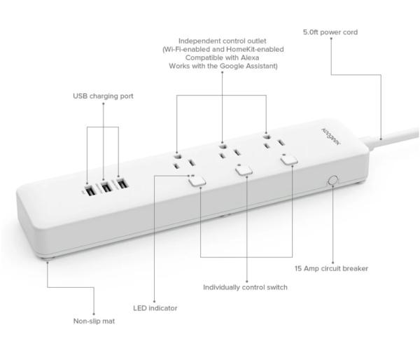 Koogeek アシスタント機能付きでタイマーもできる電源タップ