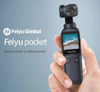 【クーポンで$159.00】Feiyu Pocket 広角120度・4K/60fps対応のジンバル付き小型カメラ