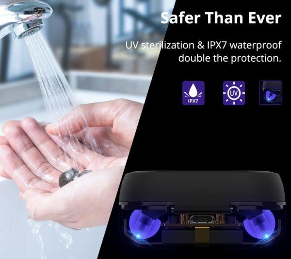世界初!UV滅菌機能付きTronsmart Onyx Free完全独立型Bluetoothイヤホンが$34.99(3,883円)でセール中