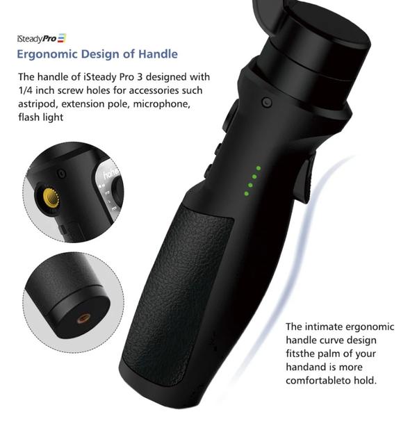 hohem iSteady Pro 3 は1/4インチのネジ穴を2つ搭載