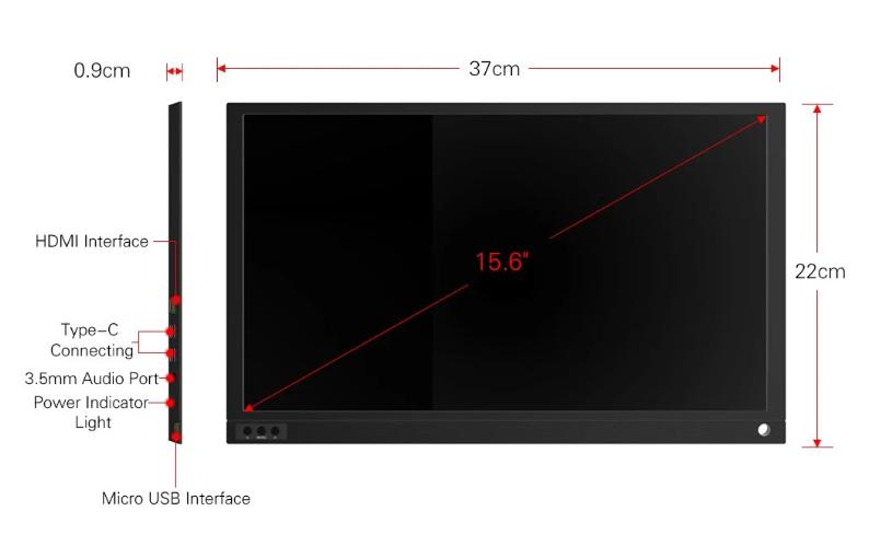 700gの軽量ボディーでTYPE-Cコードだけで接続できるFHD対応15.6インチIPSポータブルディスプレイ