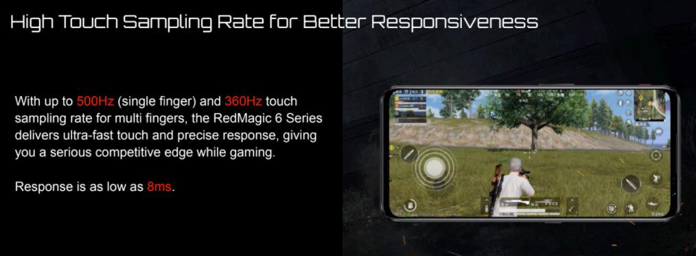 RedMagic 6は、タッチサンプリングレート最大500Hz(シングルタッチ500Hz / マルチタッチ360Hz)