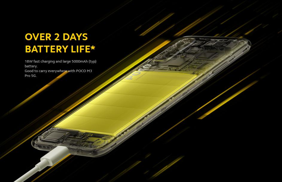 POCO M3 Pro は5000mAh大容量バッテリー、18Wの高速充電対応