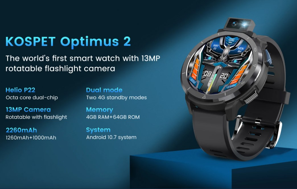 4GのB18/B19対応Android 10搭載のスマートウォッチ KOSPET OPTIMUS 2