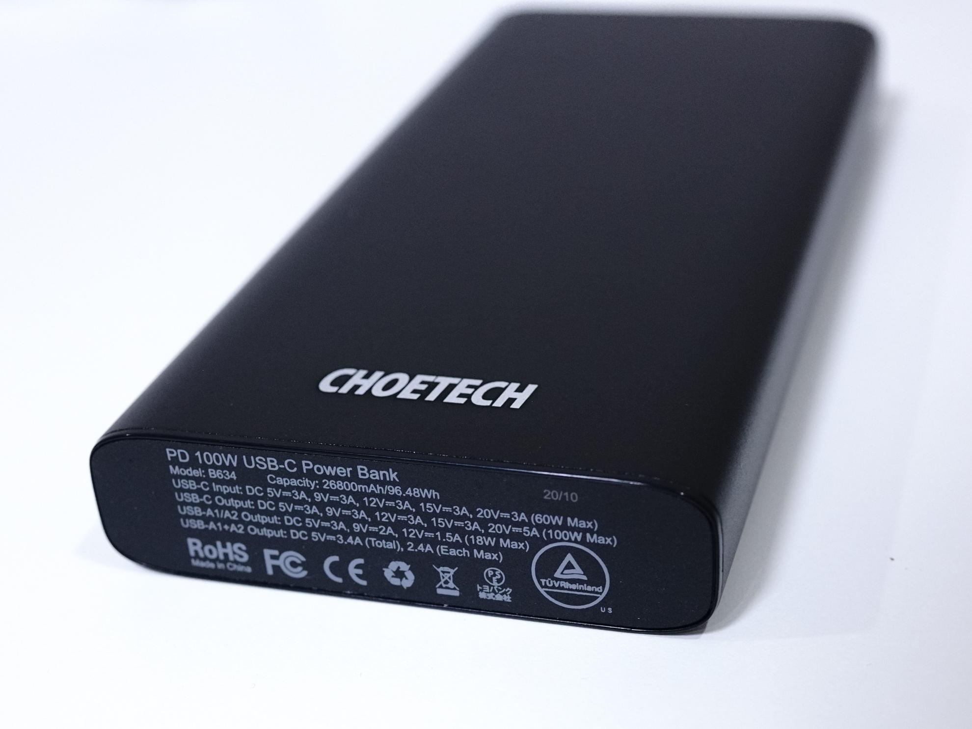 大容量 26800mAh 最大100Wフルスピード充電対応 CHOETECH PD モバイルバッテリーレビュー