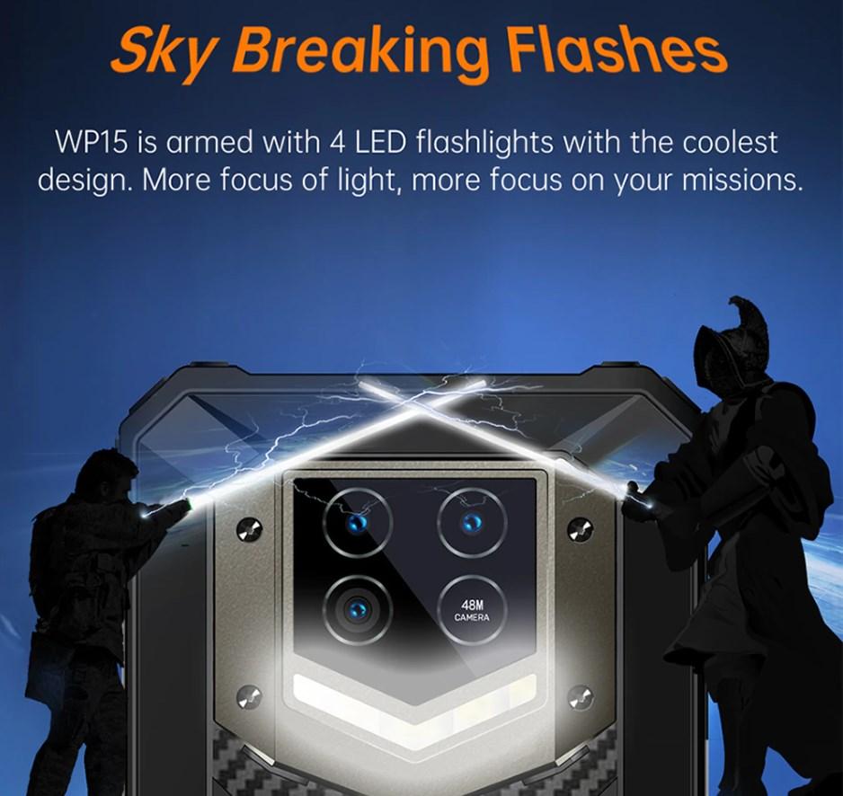 Oukitel WP15 レビュー4つのLED懐中電灯を搭載
