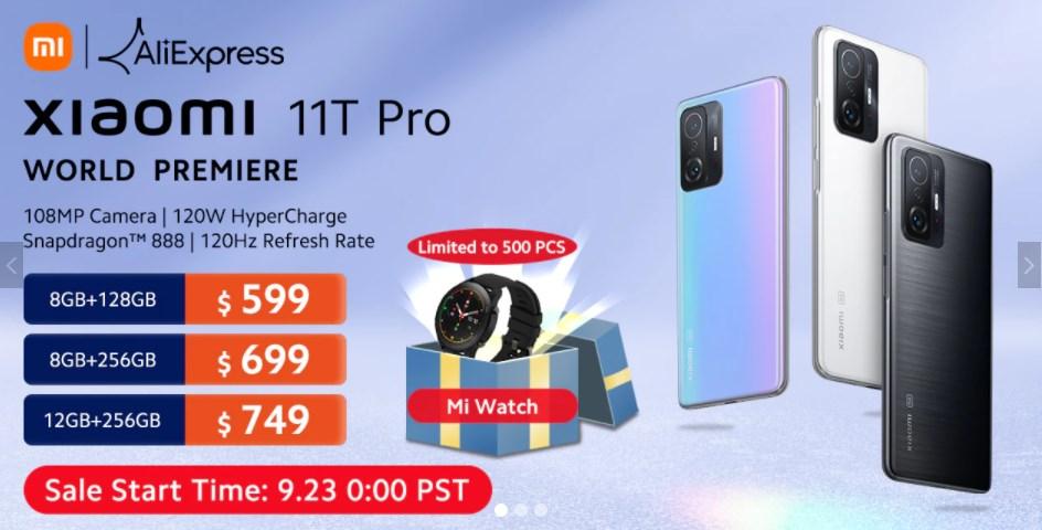 Xiaomi 11T Proのグローバルセールは最低価格$599